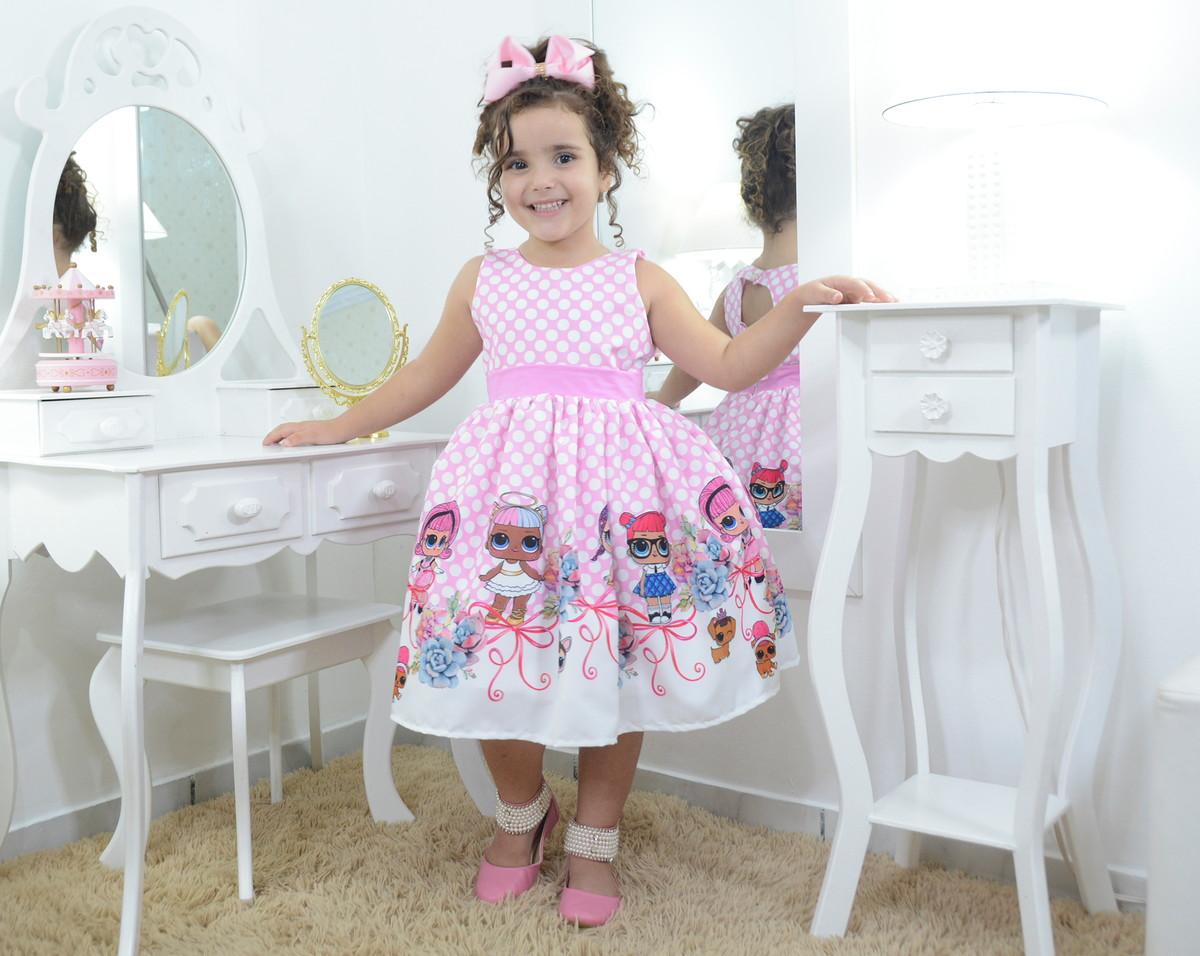 170fefdcad Vestido infantil festa das mínis bonecas Lol surprise rosa no Elo7 ...