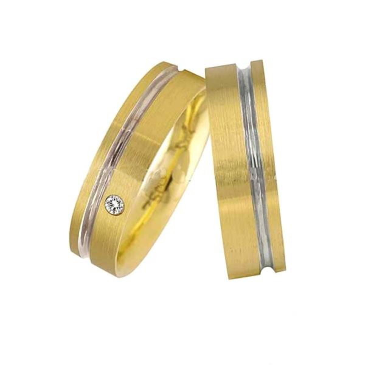 Aliança de Ouro 18k com Friso em Ouro Branco - (Par) no Elo7   LSR ... 68383b7ce6