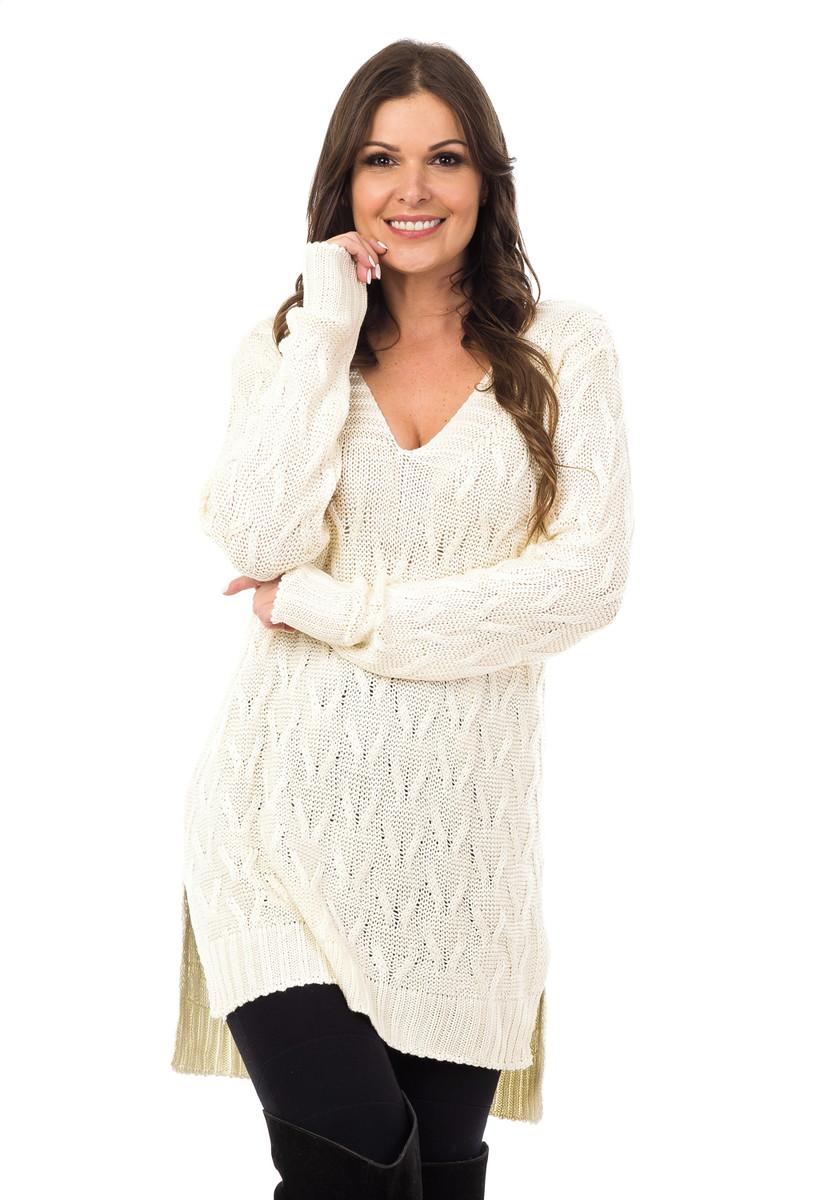 Blusa Feminina Tricot Tricô Maxi Decote em V Off-White 04992 no Elo7 ... 8689df3d0c6