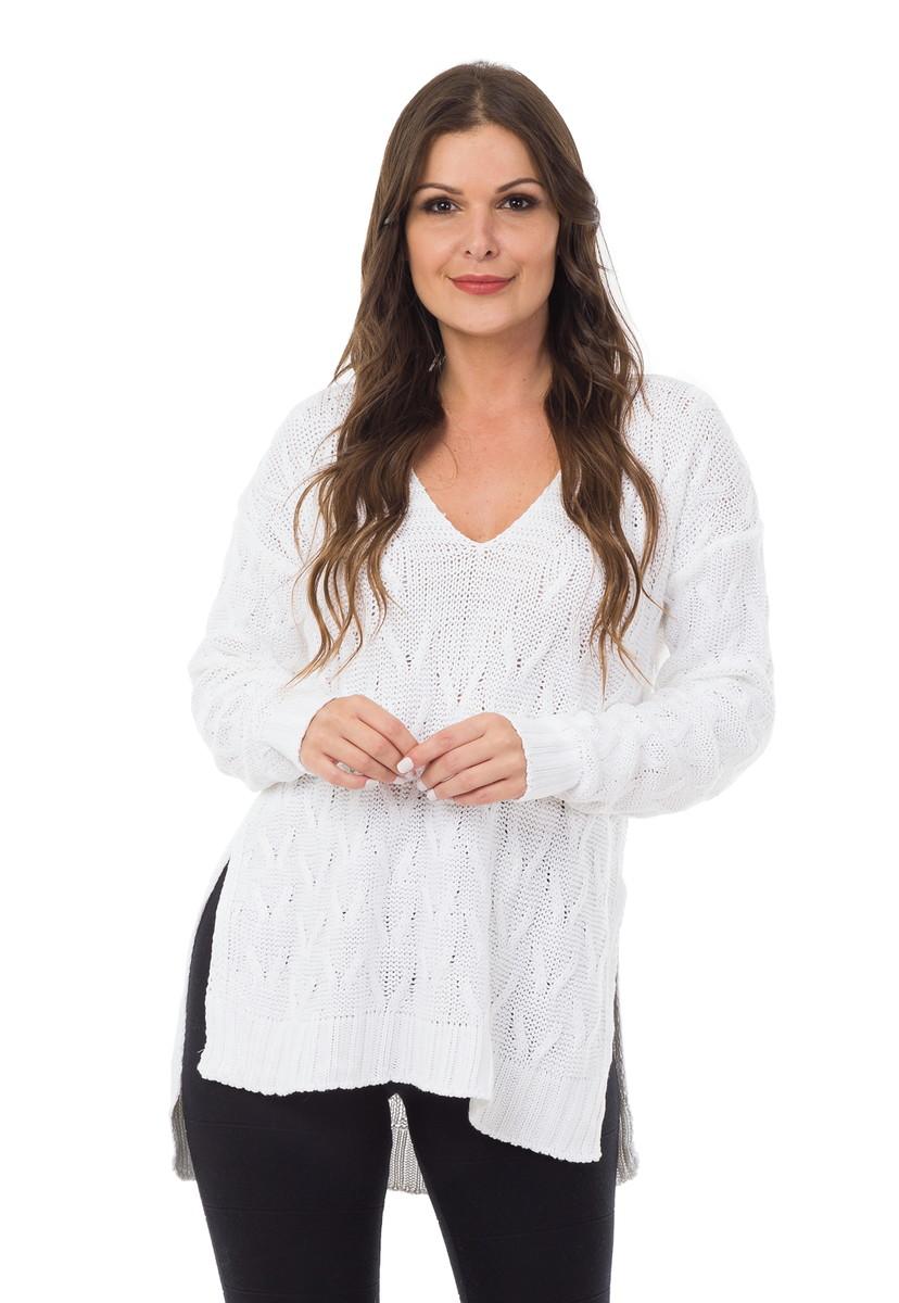 Blusa Feminina Tricot Tricô Maxi Decote em V Branca 04992 no Elo7 ... 40468b002bf