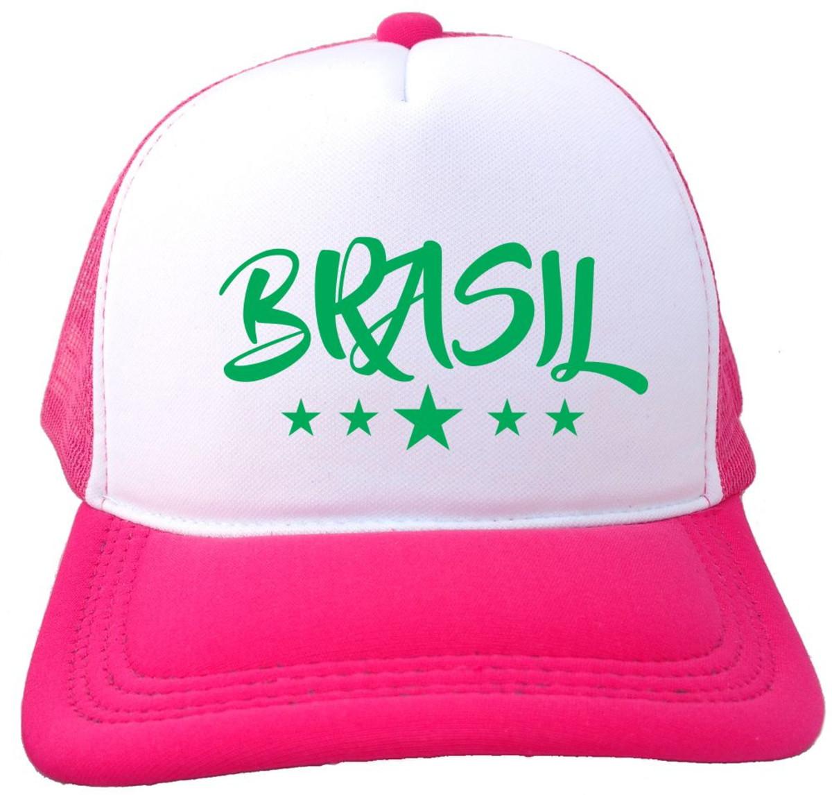 Boné Trucker branco e rosa pink Brasil Copa BN246 no Elo7  4ead954fb11