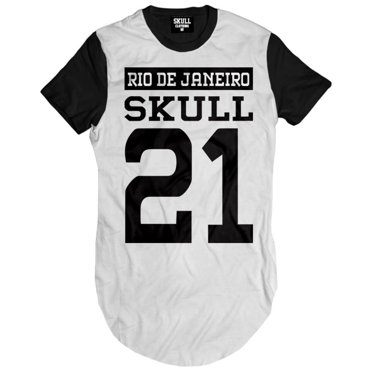 74c31ed6f3 Zoom · Camiseta Longa Rj Skull Hip Hop camisa masculina alongada
