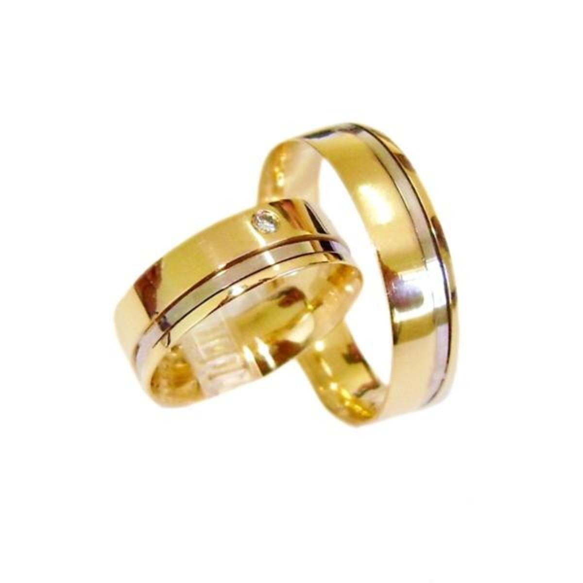 Aliança de Ouro 18k Filete Ouro Branco e Diamante - (Par) no Elo7 ... a966d88b63