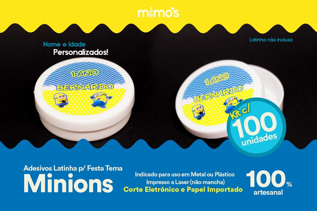1110170305 Kit c  100 Adesivos para Latinha - Tema Minions - Personaliz no Elo7 ...