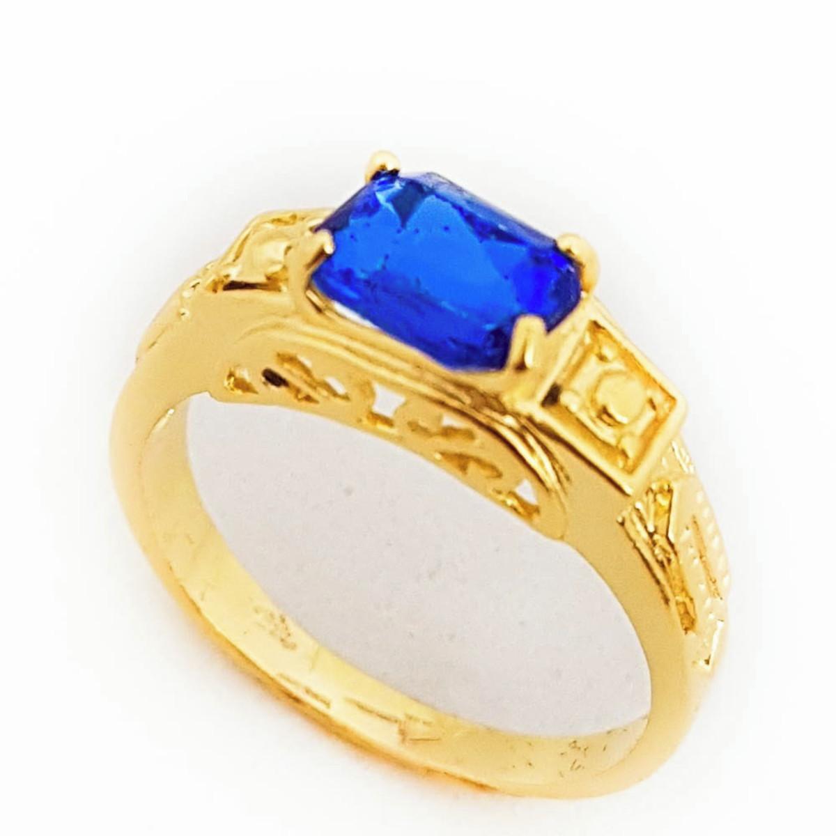 Anel Azul Safira Formatura Folheado A Ouro 18k. no Elo7   Anaisa ... 75500fd321