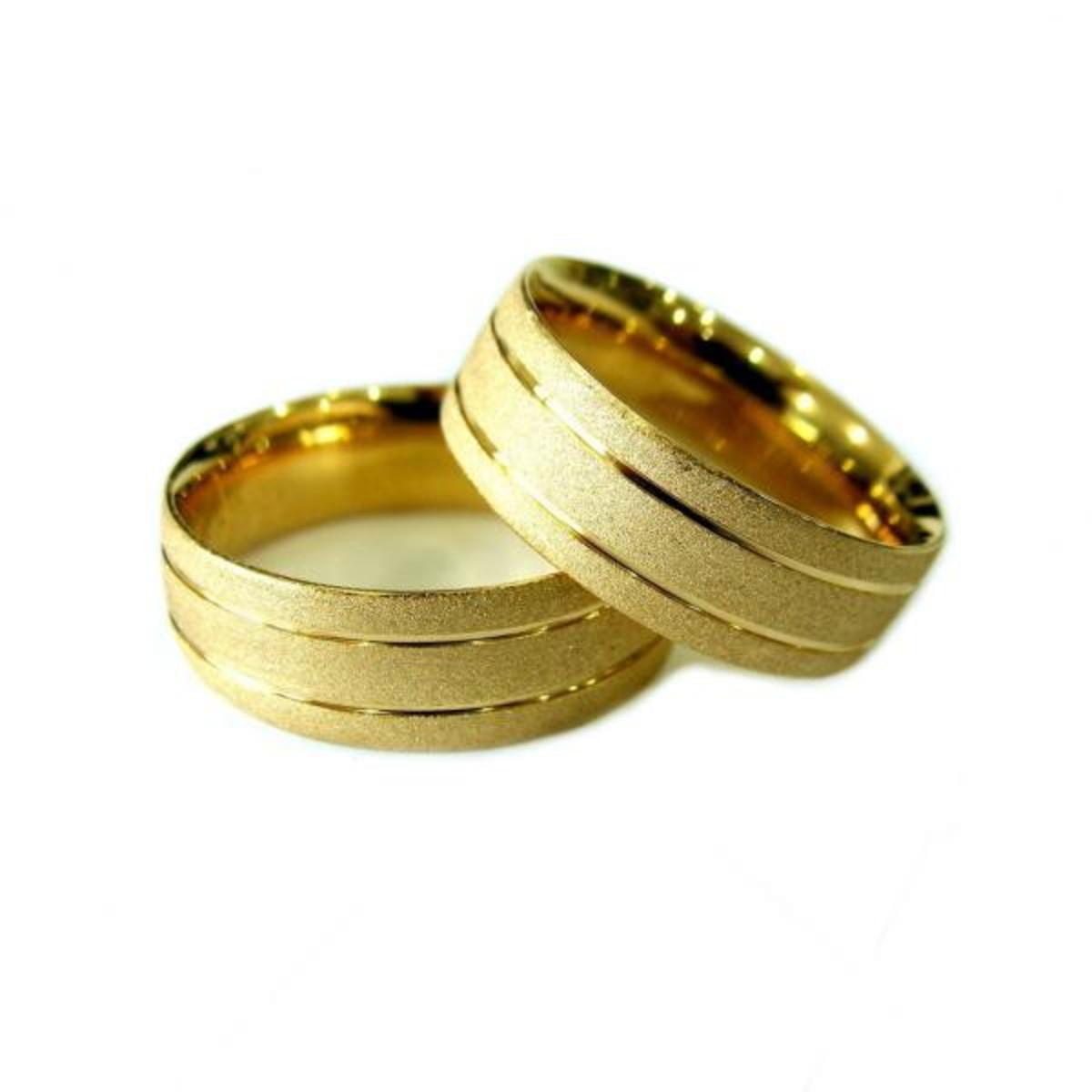 06a97ec7ff2c1 Aliança de Ouro 18k Quadrada com Frisos e Diamantada - (Par) no Elo7 ...