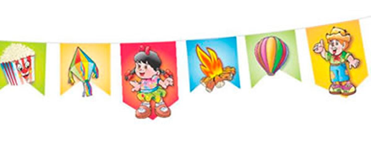 Bandeirinha Grande Com Desenho Festa Junina 66 Unid 30 Mts No