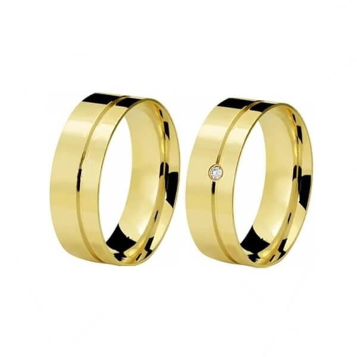 Aliança de Ouro 18k Friso na Lateral e um Diamante - (Par) no Elo7 ... 46c9ec830f