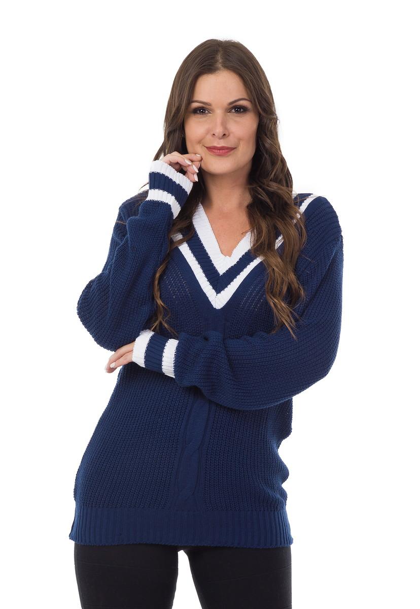 7c04889f8 Blusa Feminina Tricot Colegial com Trança Azul Marinho 05003 no Elo7 ...