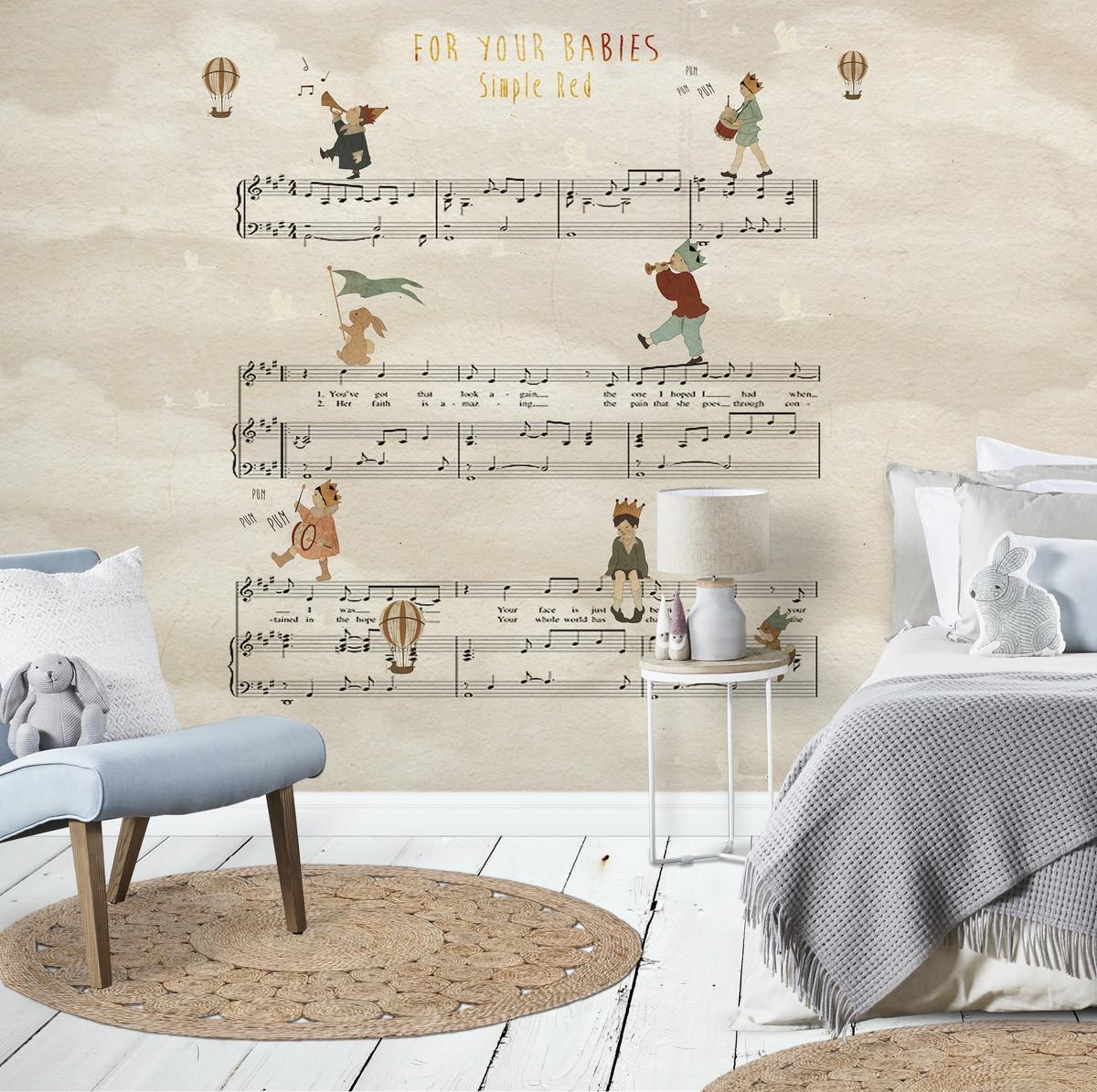 Papel de parede personalizado infantil m sica 001 no elo7 - Papel para paredes baratos ...