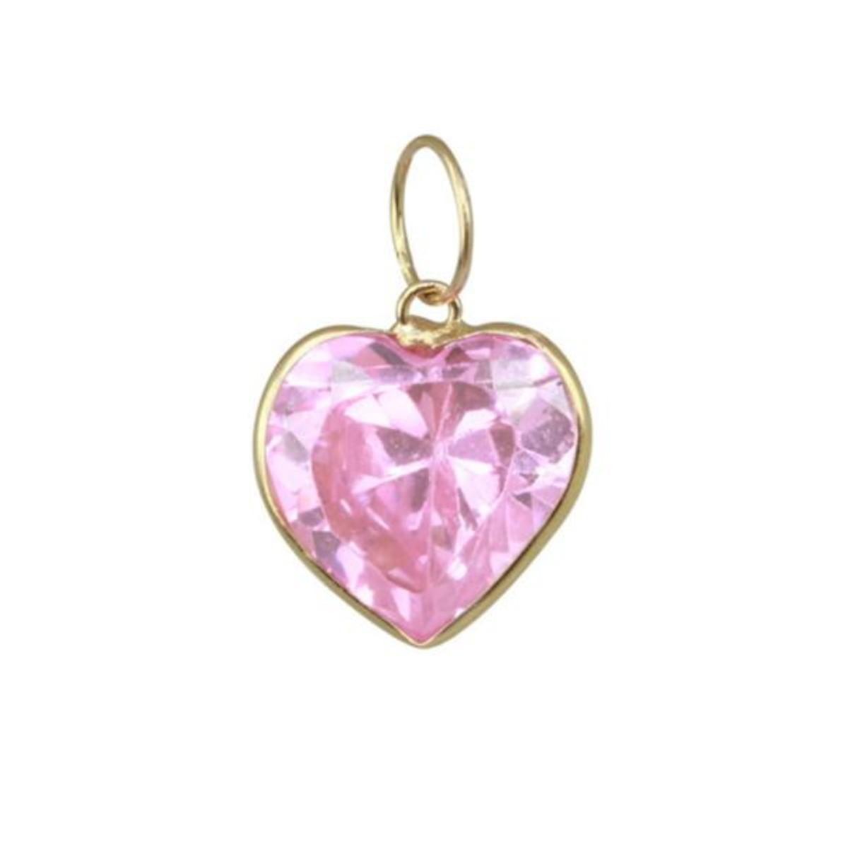 7a147bad498c5 Pingente de Ouro 18k Coração Rosa com Zircônia no Elo7   LSR Joias ...