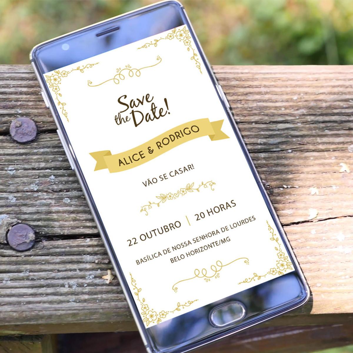 Save the Date Clássico - Digital Whatsapp no Elo7 | Janna