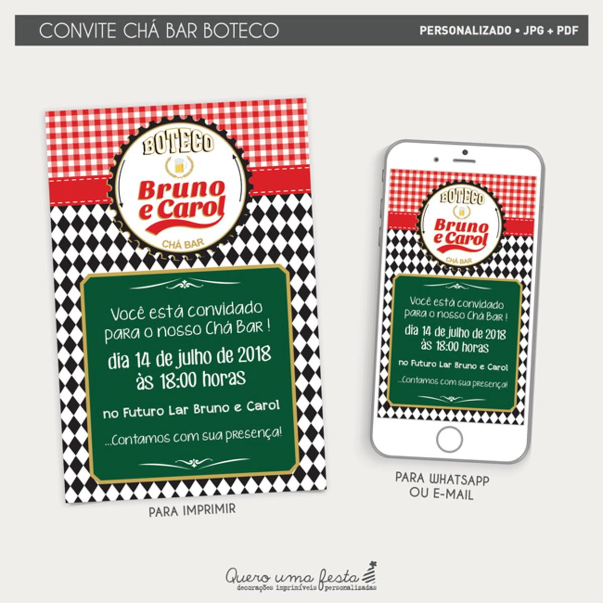 Convite Cha Bar Boteco Arquivo Digital No Elo7 Quero Uma Festa