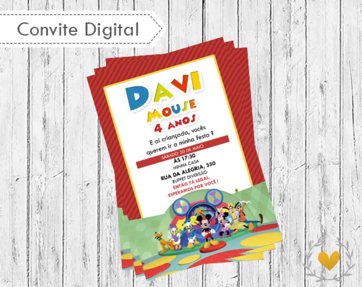 Convite digital Casa do Mickey no Elo7  eace533a05f37
