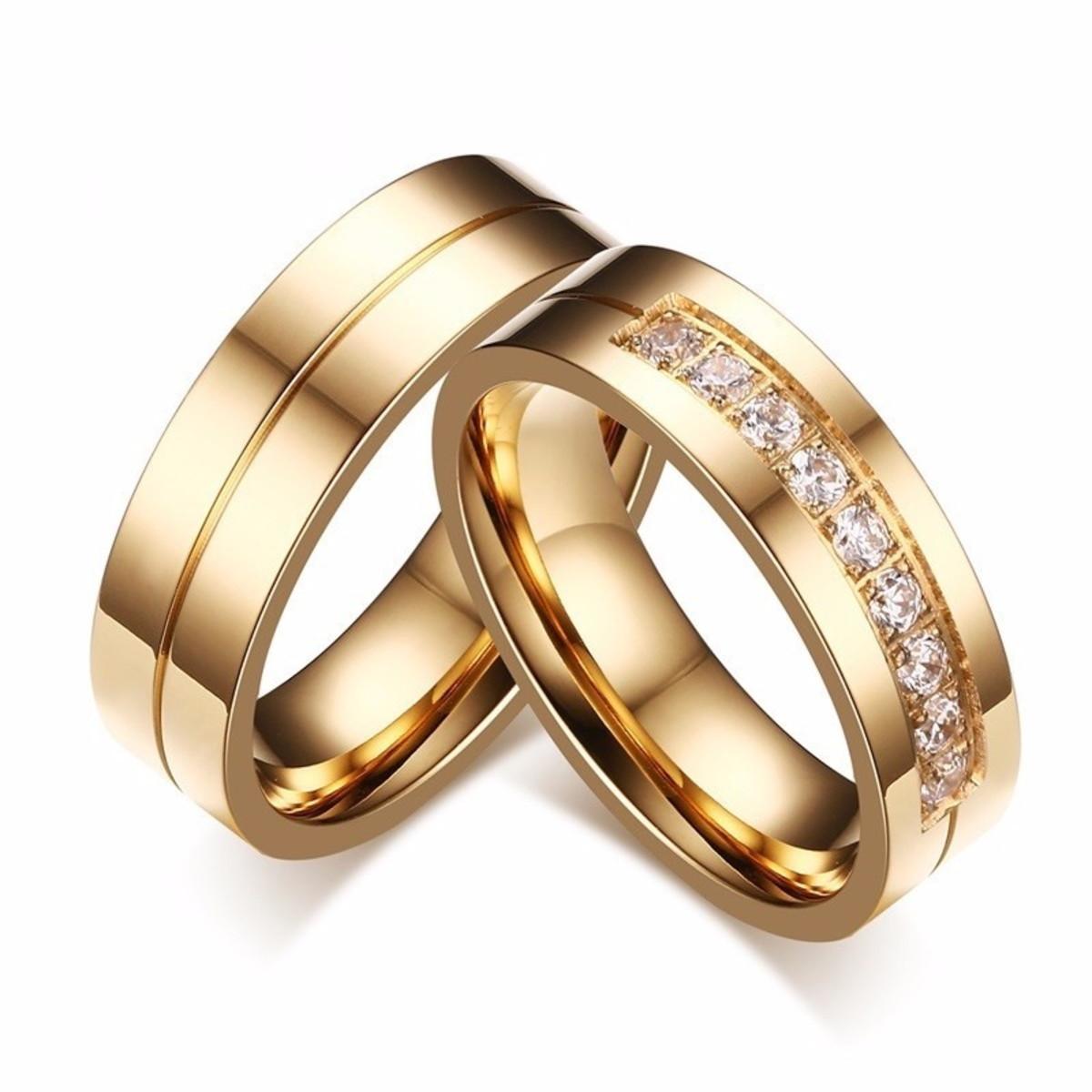 21b1be7b2c9 Par De Alianças De Noivado E Casamento banhada a ouro no Elo7 ...