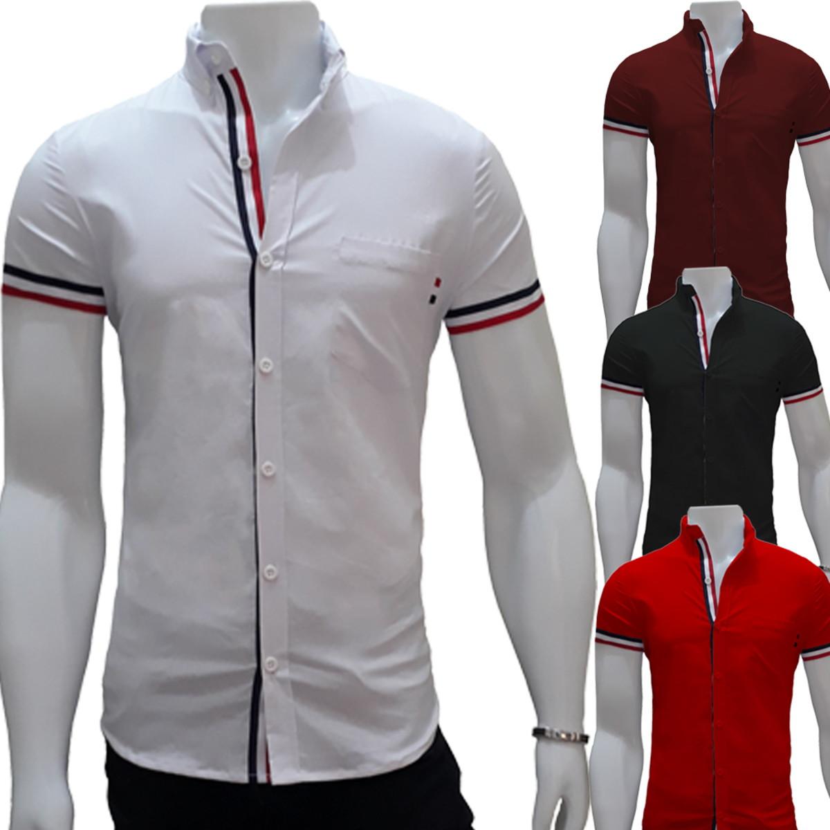 9628cd01b camisa social masculina slim fit manga curta moda jovem no Elo7 ...