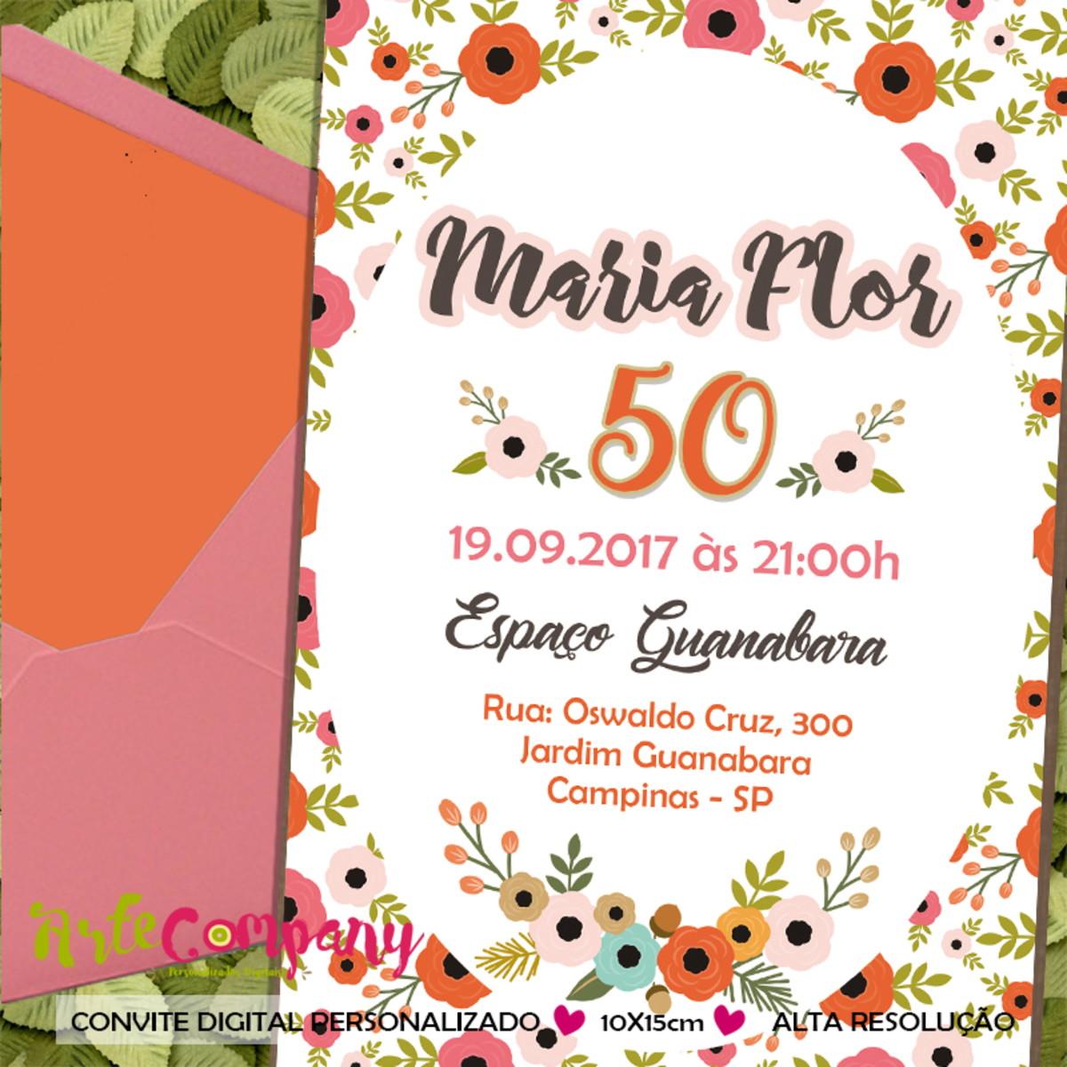 Convite Aniversario Floral 50 Anos No Elo7 Artecompany C063f9