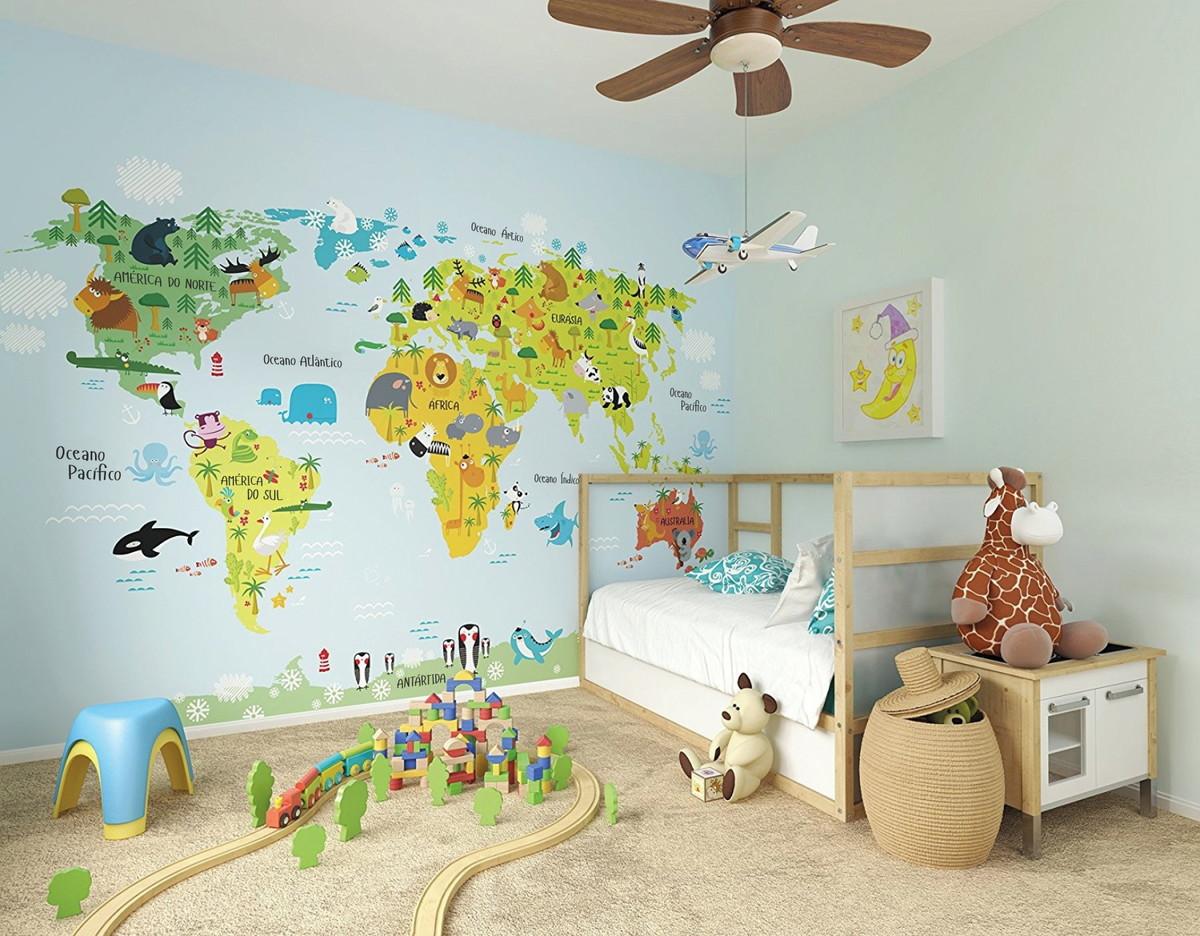 Mural de Parede Infantil Mapa Mundi ADcorista BEFD69 no Elo7 ...