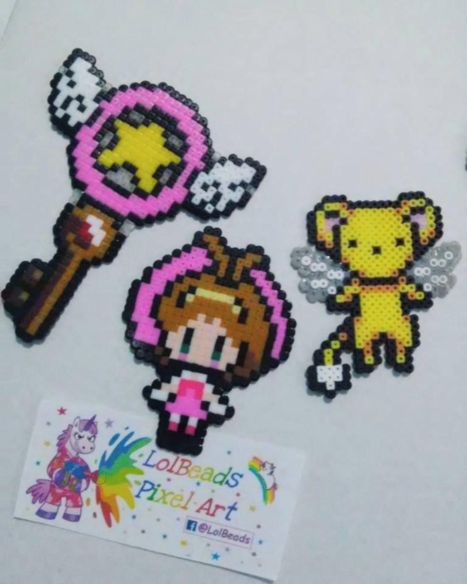 Promocao Trio Sakura Card Captor Kero Baculo Hamabeads No