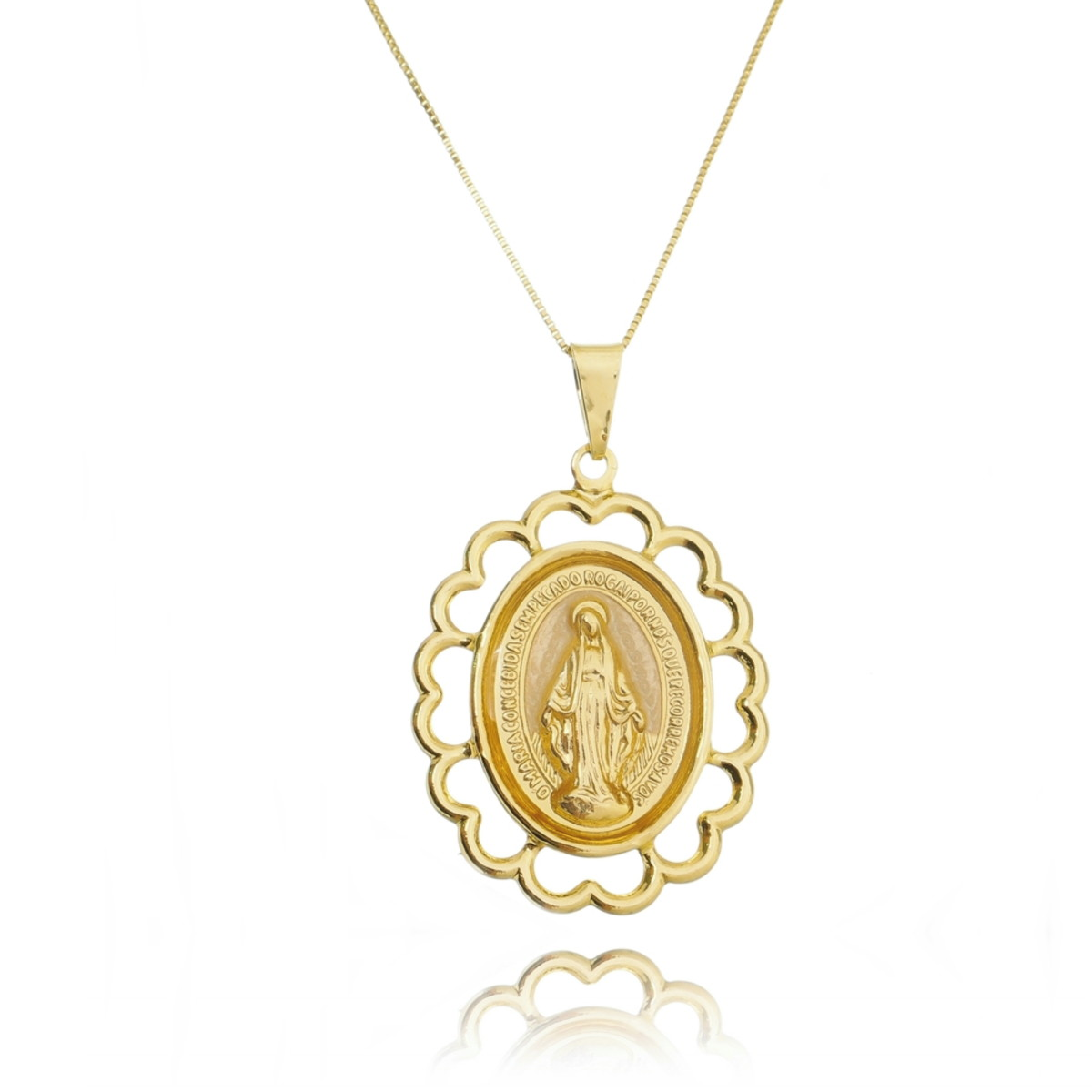 Colar Medalha Nossa Senhora Madre Pérola Folheada Ouro 18k no Elo7 ... 50c4f2c7fe