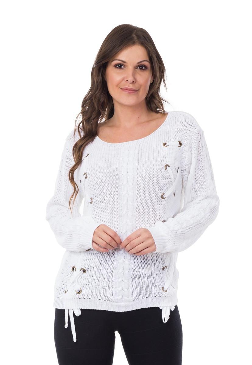Blusa Feminino Tricot Manga Longa Trançada Branco 04921 no Elo7 ... f11ee951c5717