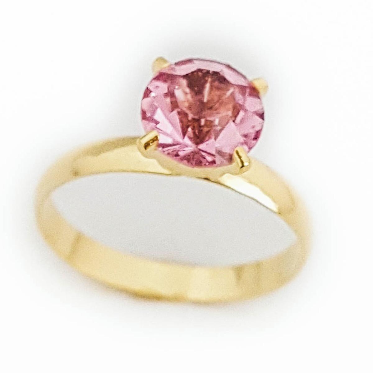 c33b92bdc80e7 Anel Feminino Solitário Pedra Rosa Folheado Ouro 18k. no Elo7 ...
