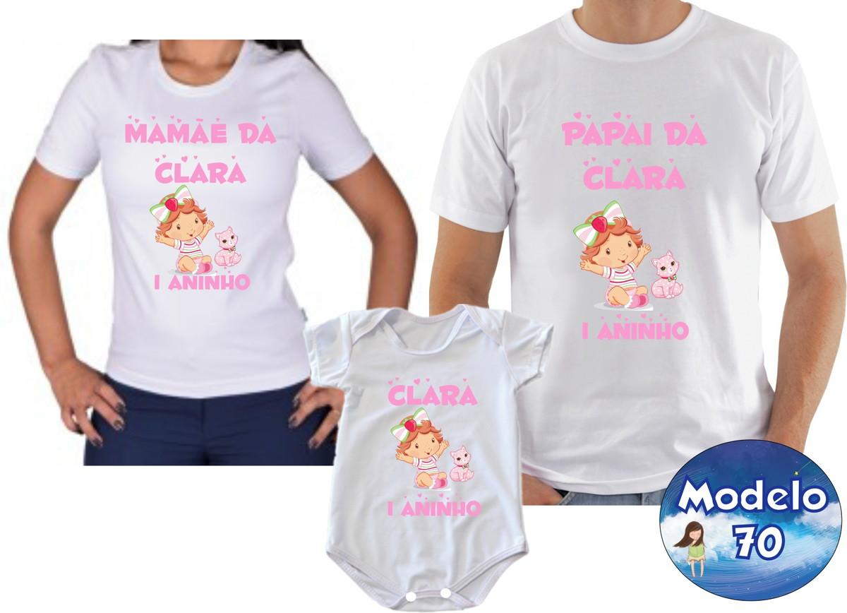 Camiseta Aniversario Moranguinho Baby c 3 no Elo7  d1e9efcfa58
