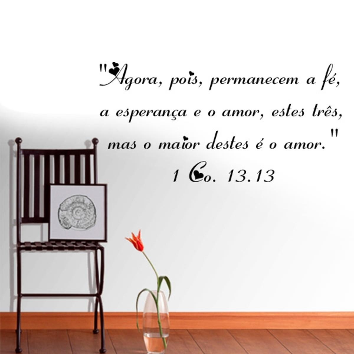 Adesivo Parede Frase Fé Esperança E Amor Tam G 100x50cm