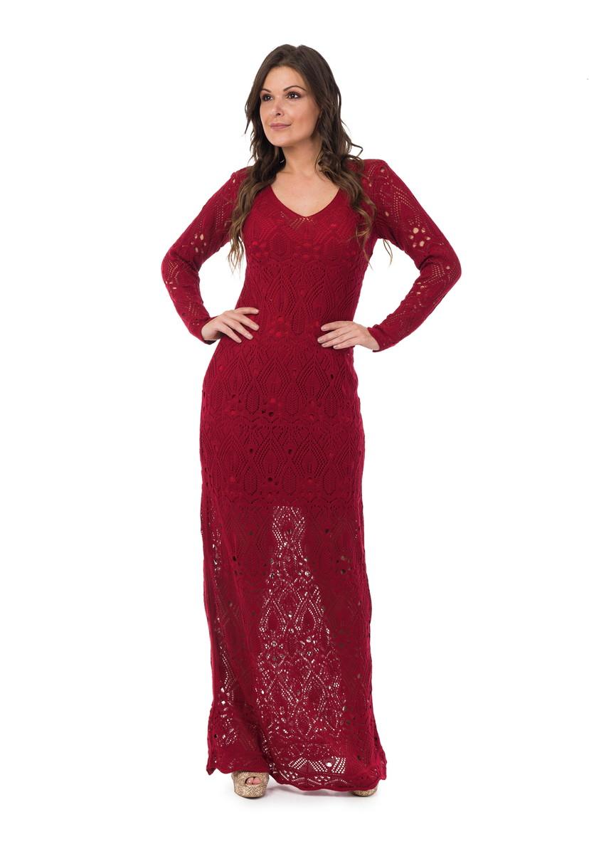 356cda68d Vestido Longo Feminino Tricot Renda Decote V Vermelho 05016 no Elo7 ...