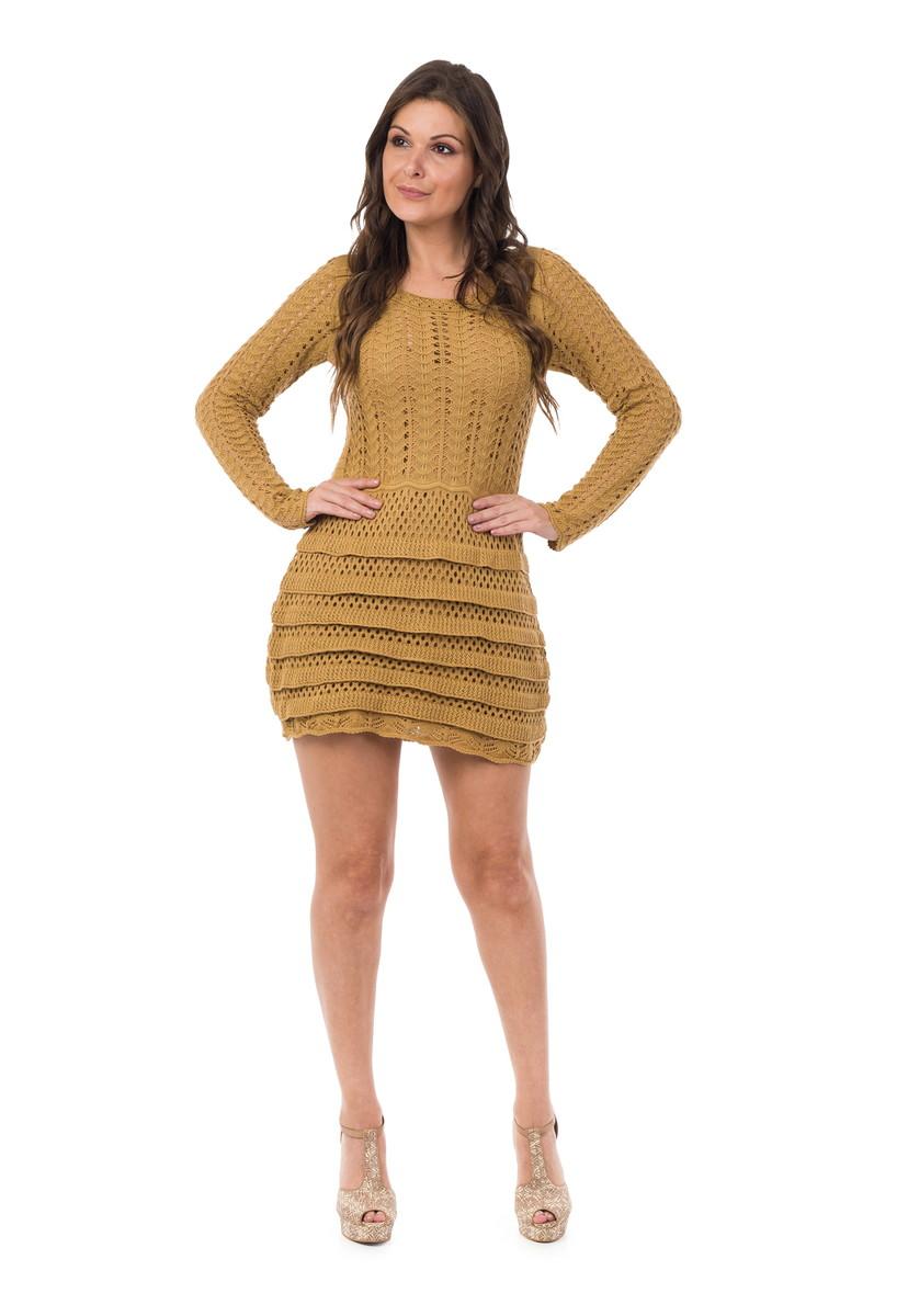 56f628c0f Vestido Curto Feminino Tricot Babado Dourado 05014 no Elo7 | Loja ...