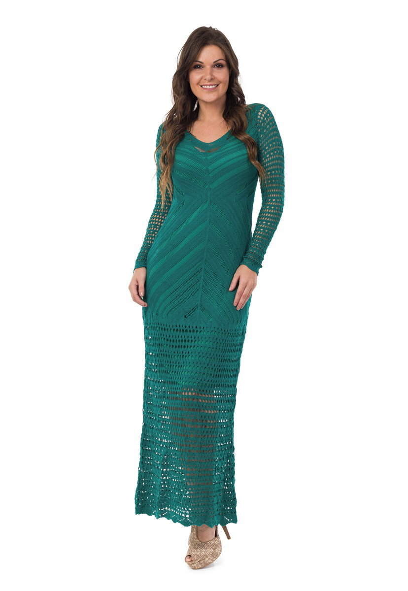 59a8c294fc Vestido Longo Feminino Tricot Decote V Verde Escuro 05013 no Elo7 ...