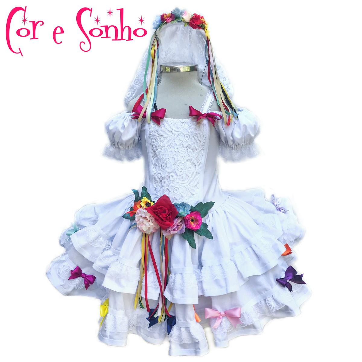 Vestido Noiva Quadrilha Festa Junina Véu Arco De Cabelo No Elo7