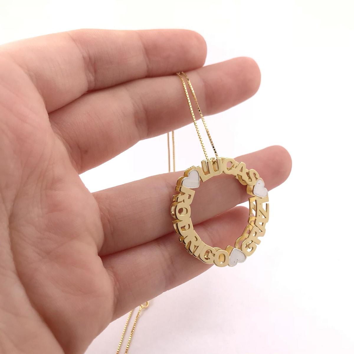 9fc68e9622137 Colar Mandala Nome De Prata Com Banho De Ouro 18K no Elo7