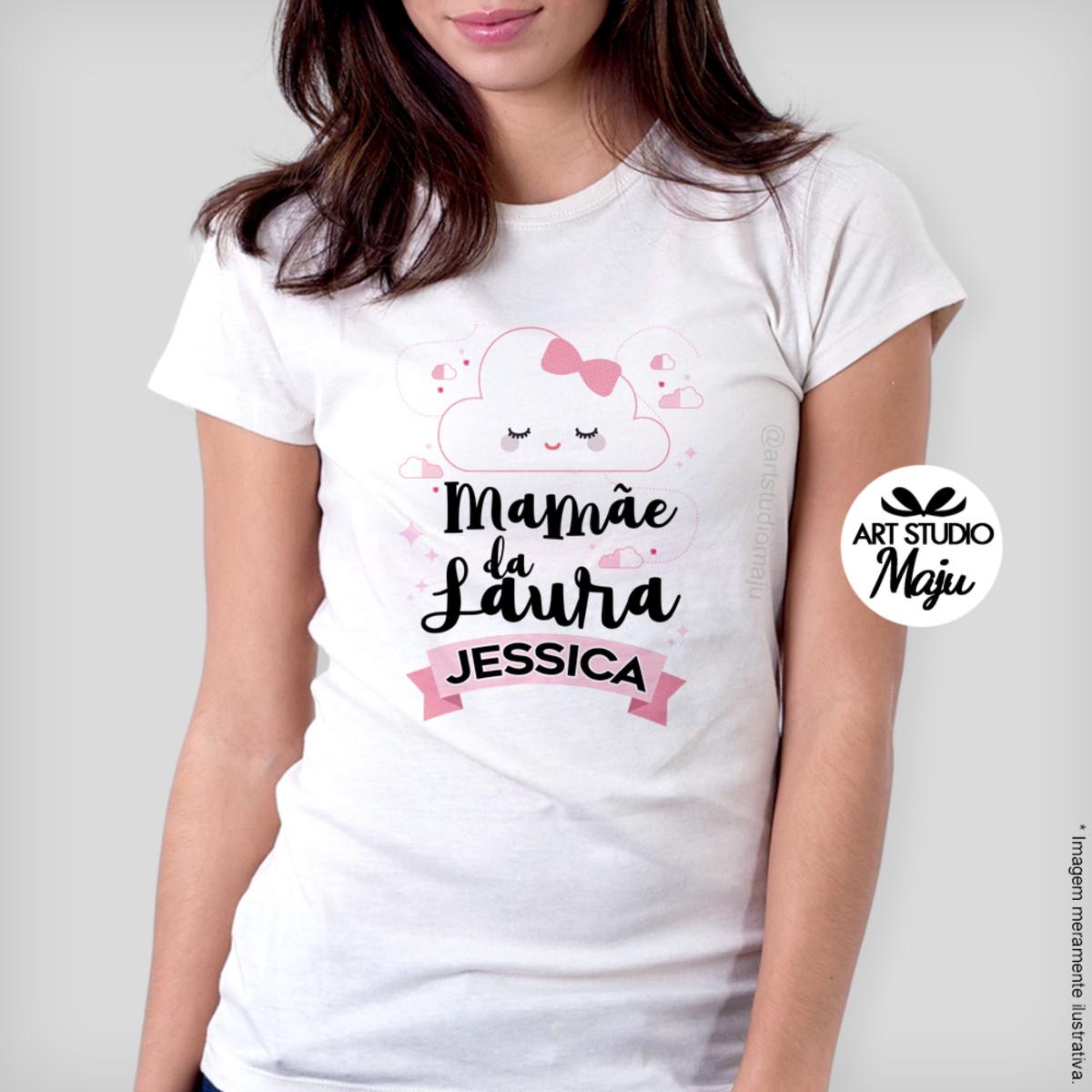 660153d24a77f Camiseta Personalizada Feminina c  nome - Mamãe Nuvem no Elo7