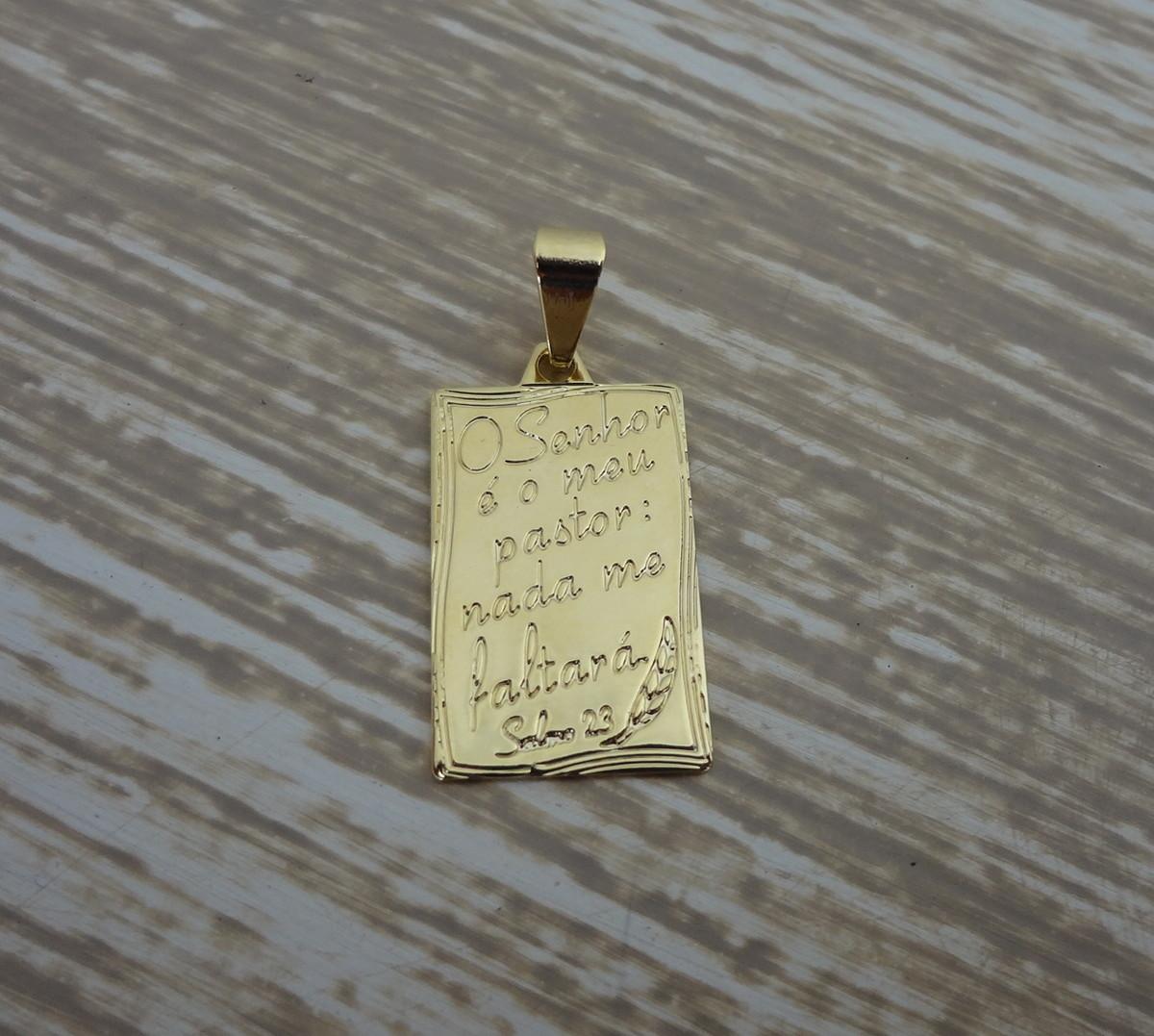 Pingente Folheado a ouro - O Senhor é Meu Pastor no Elo7   Pedra do ... 863d1b2b35