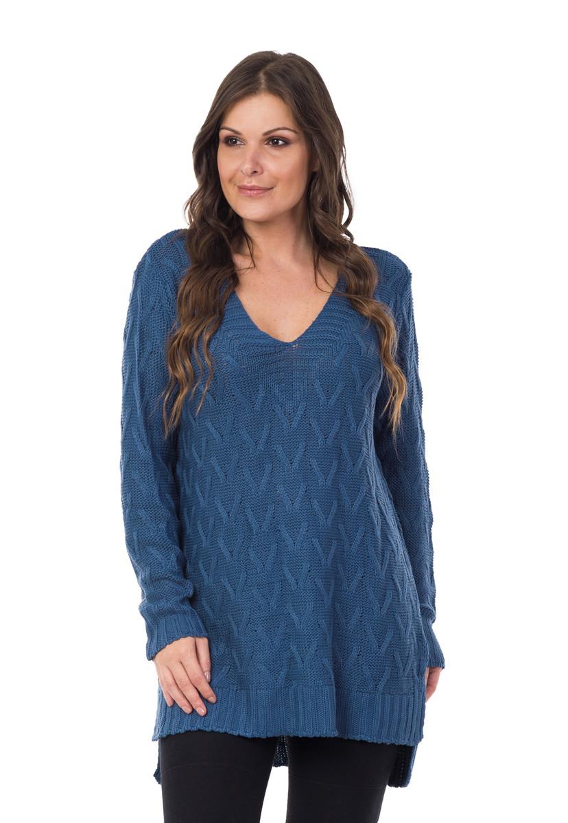 Blusa Feminina Tricot Maxi Decote em V Azul Jeans 04992 no Elo7 ... 2652e907d8b