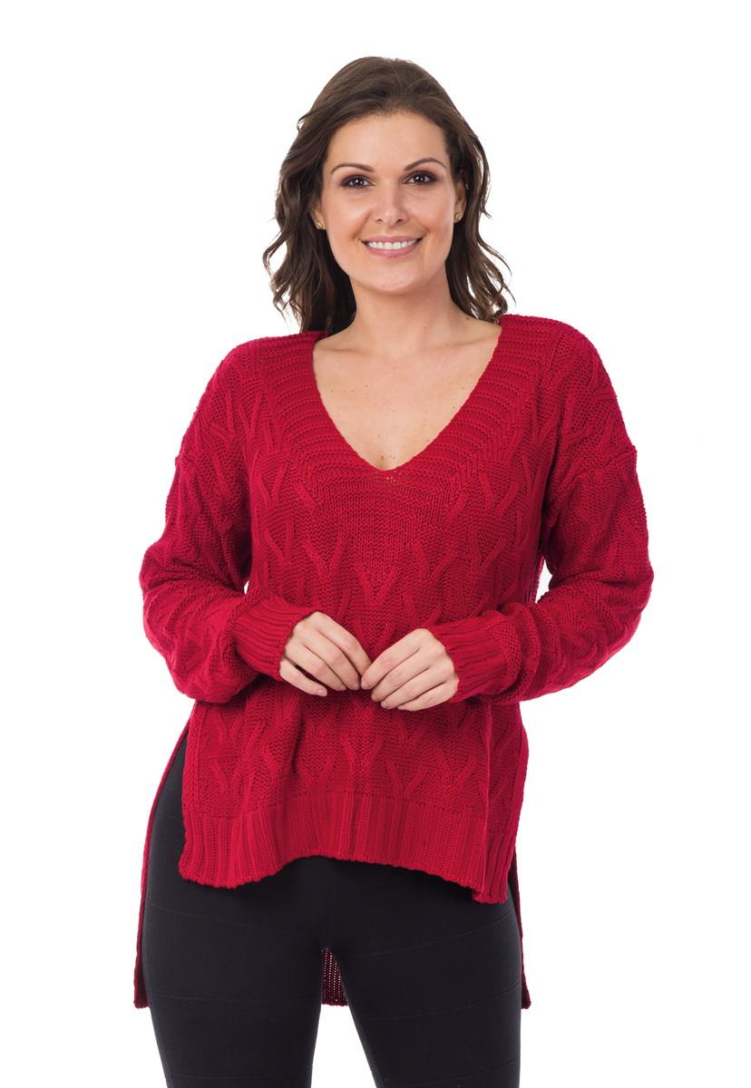 Blusa Feminina Tricot Tricô Maxi Decote em V Vermelha 04992 no Elo7 ... 5aab166ae65