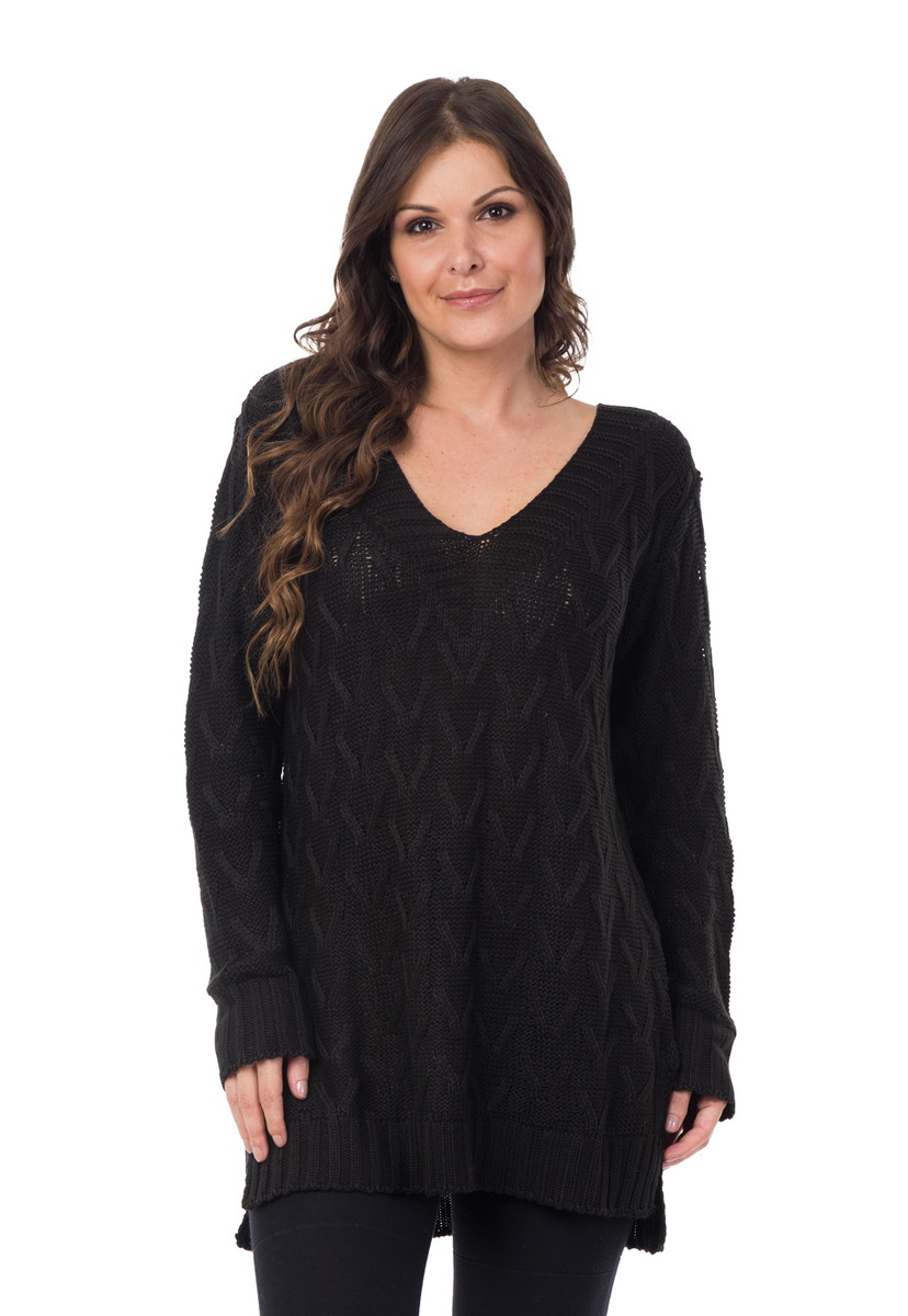 Blusa Feminina Tricot Tricô Maxi Decote em V Preta 04992 no Elo7 ... 3ae795b6c78