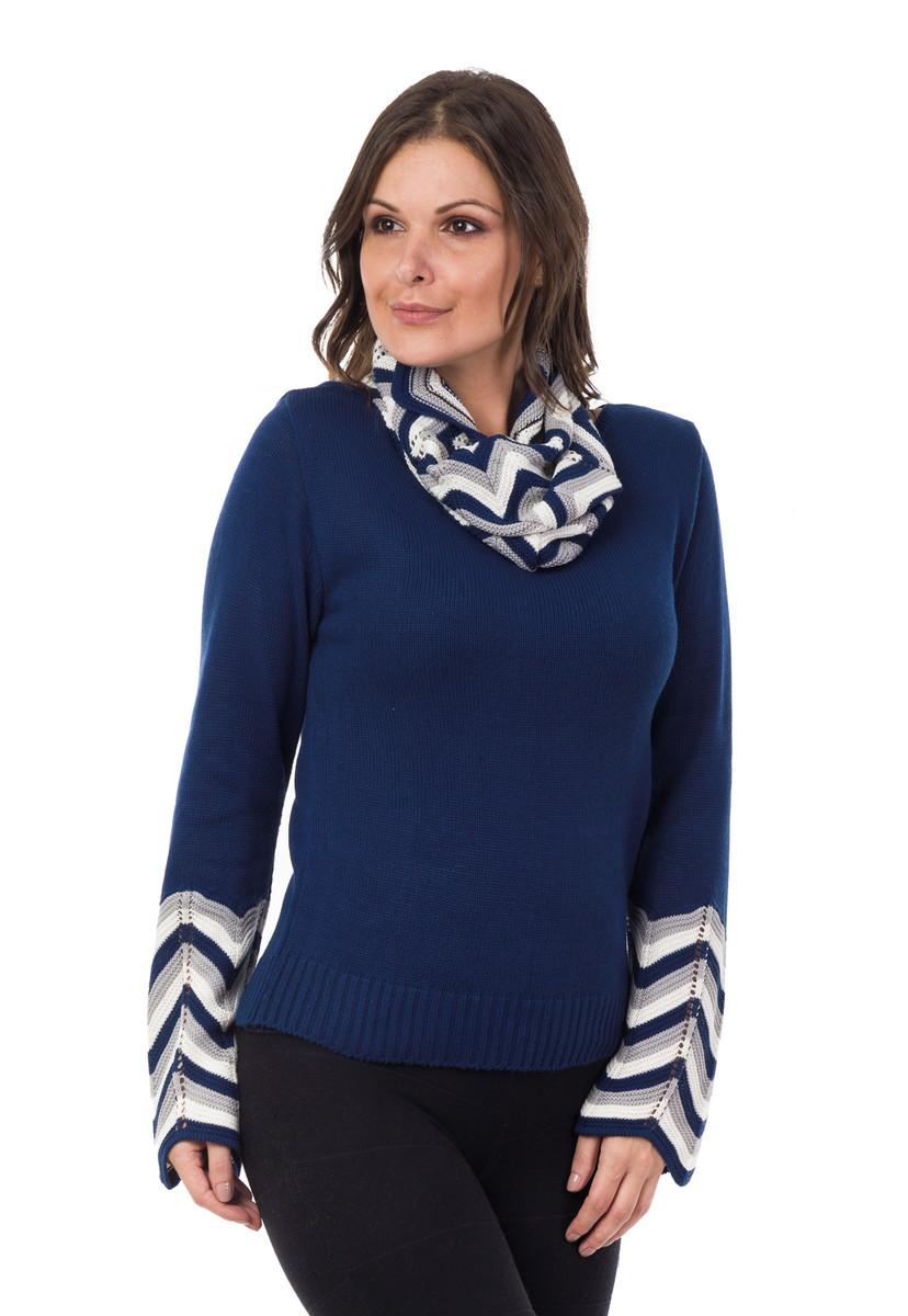 995b605524 Blusa Feminina Tricot com Gola Azul Marinho Branco 04918 no Elo7 ...