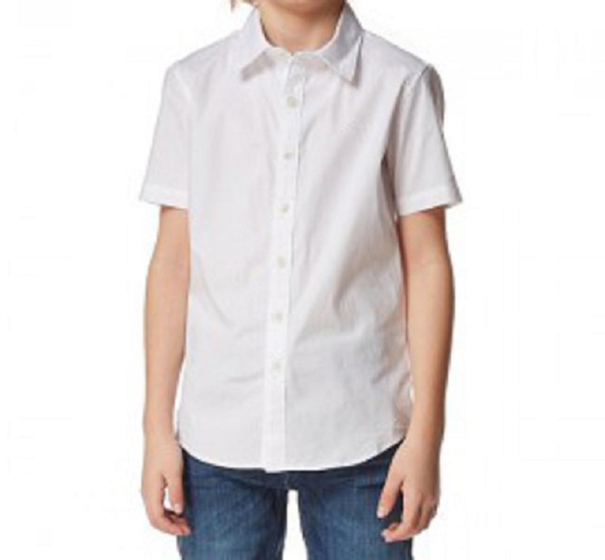 e0c9faa3db Camisa Branca Social Infantil manga curta no Elo7