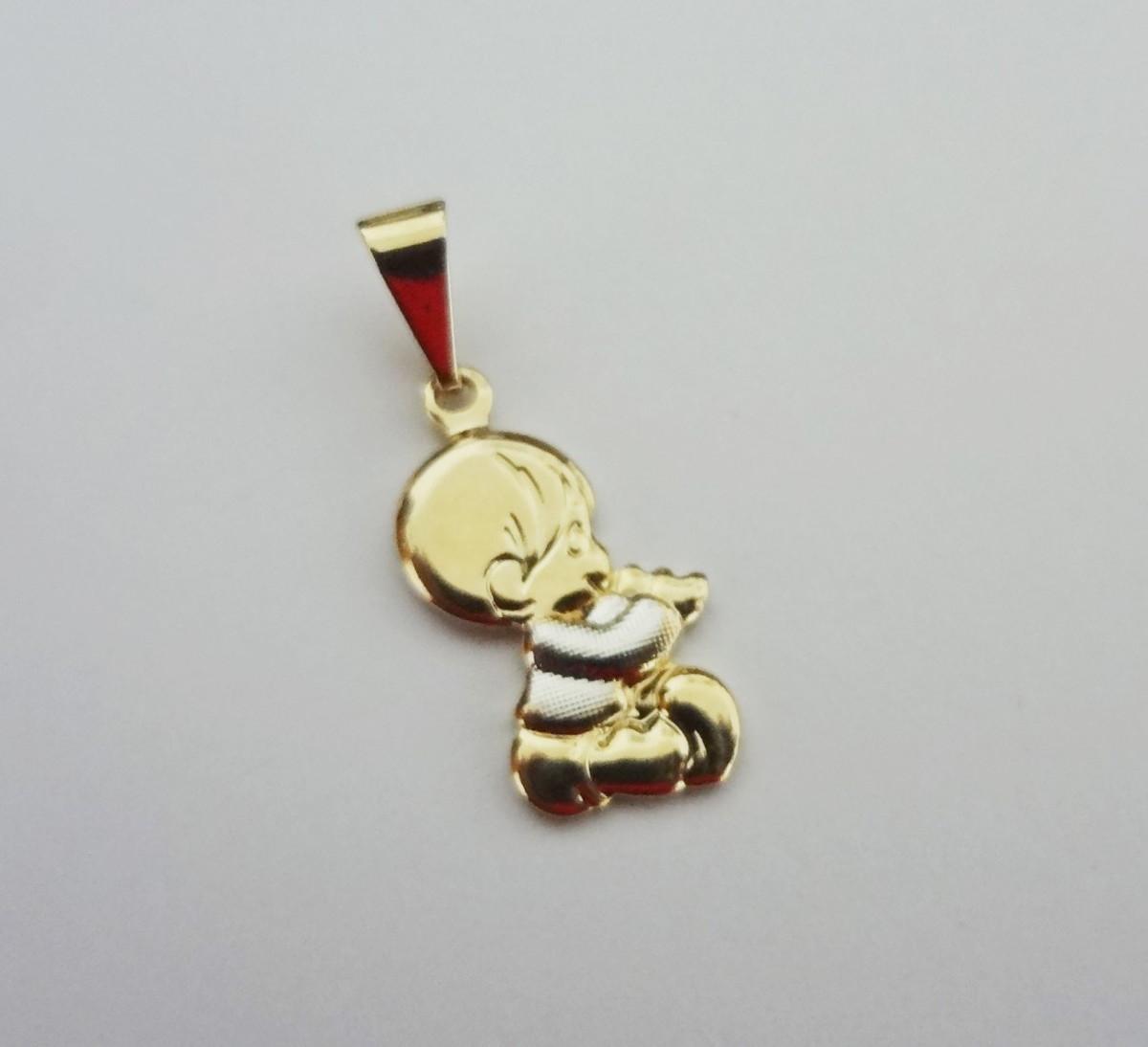 Pingente Folheado a ouro - Bebezinho - menino no Elo7   Pedra do Sol ... c12e12ddbd
