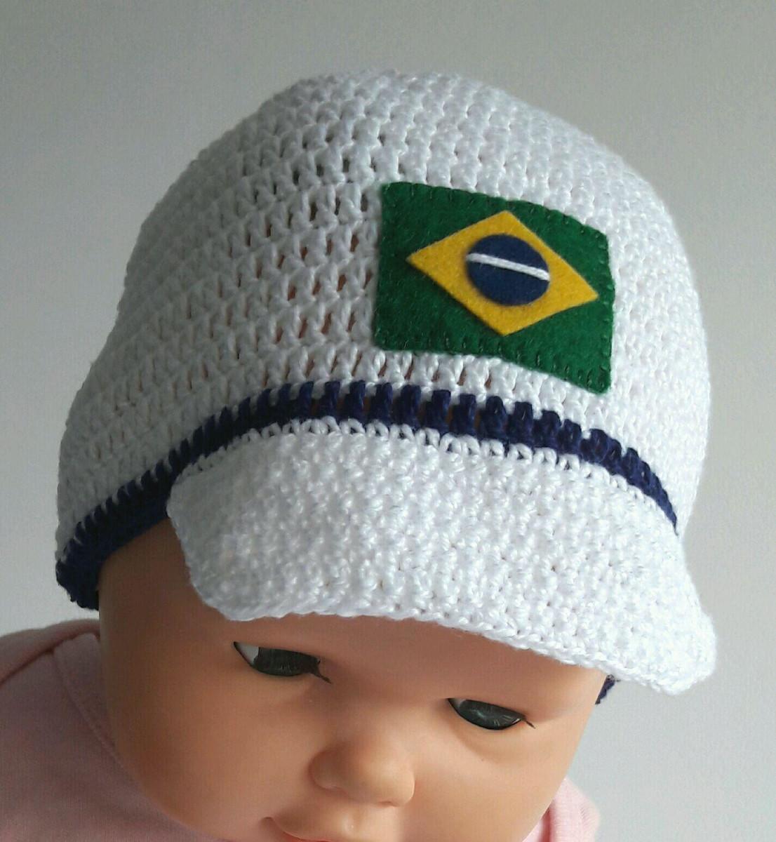 Boné crochê de linha Brasil no Elo7  5c510f09296