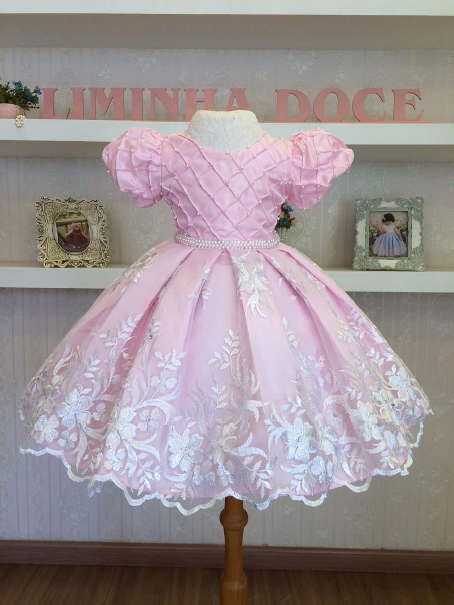 64cdde773 Vestido de Daminha de Honra Rosa - Infantil no Elo7   Liminha Doce ...