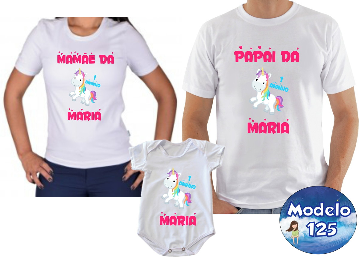 855e8a8c8adc7 Kit Camiseta Personalizada Unicórnio com 3 no Elo7