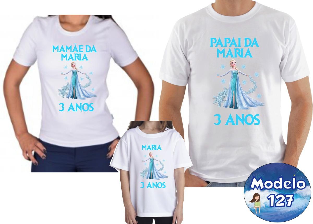 ab8ced92c3 Kit Camiseta Personalizada Frozen com 3 no Elo7