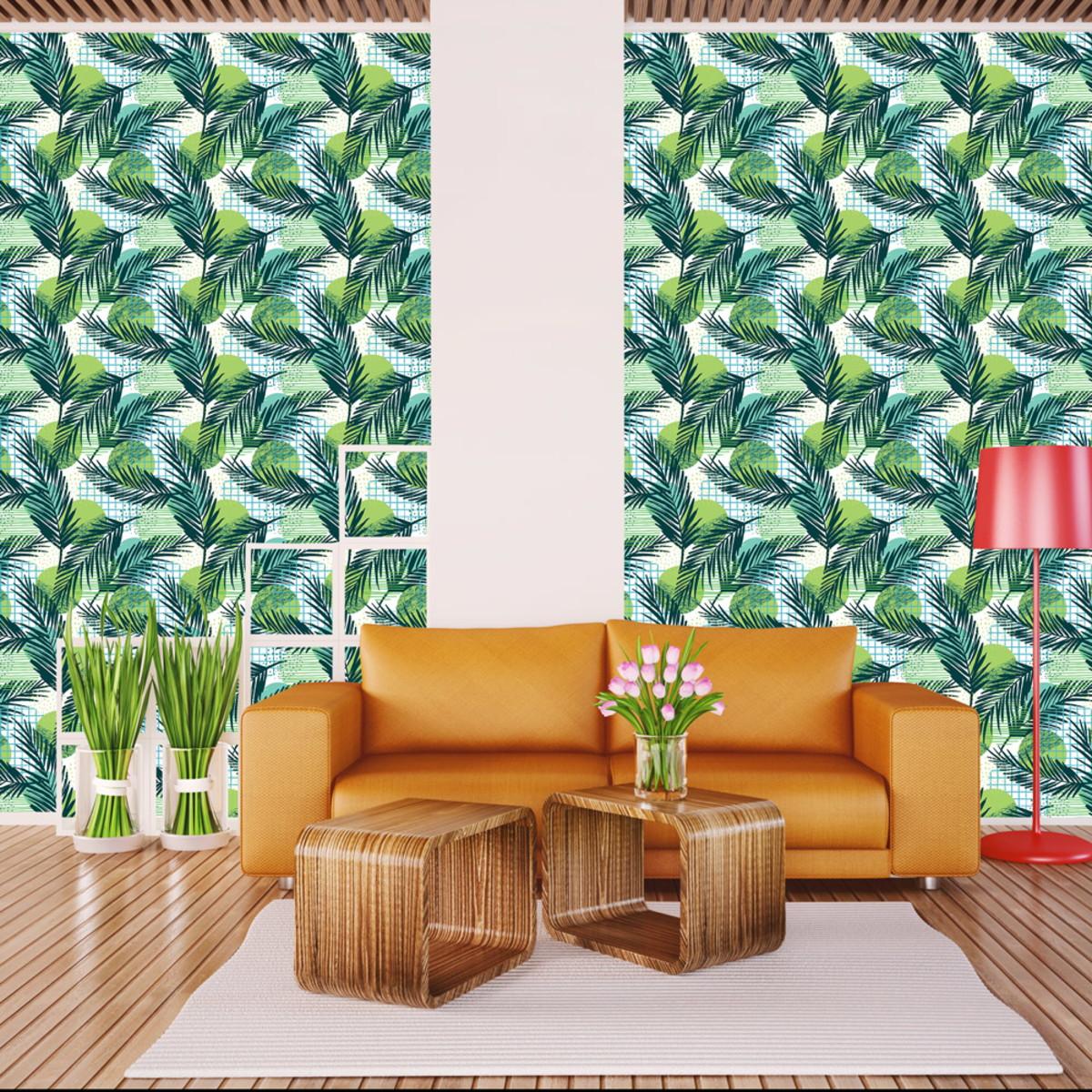 Papel De Parede Floral Folhas De Coqueiro Verde Sala 3m No Elo7  -> Papel De Parede Para Sala Folhas