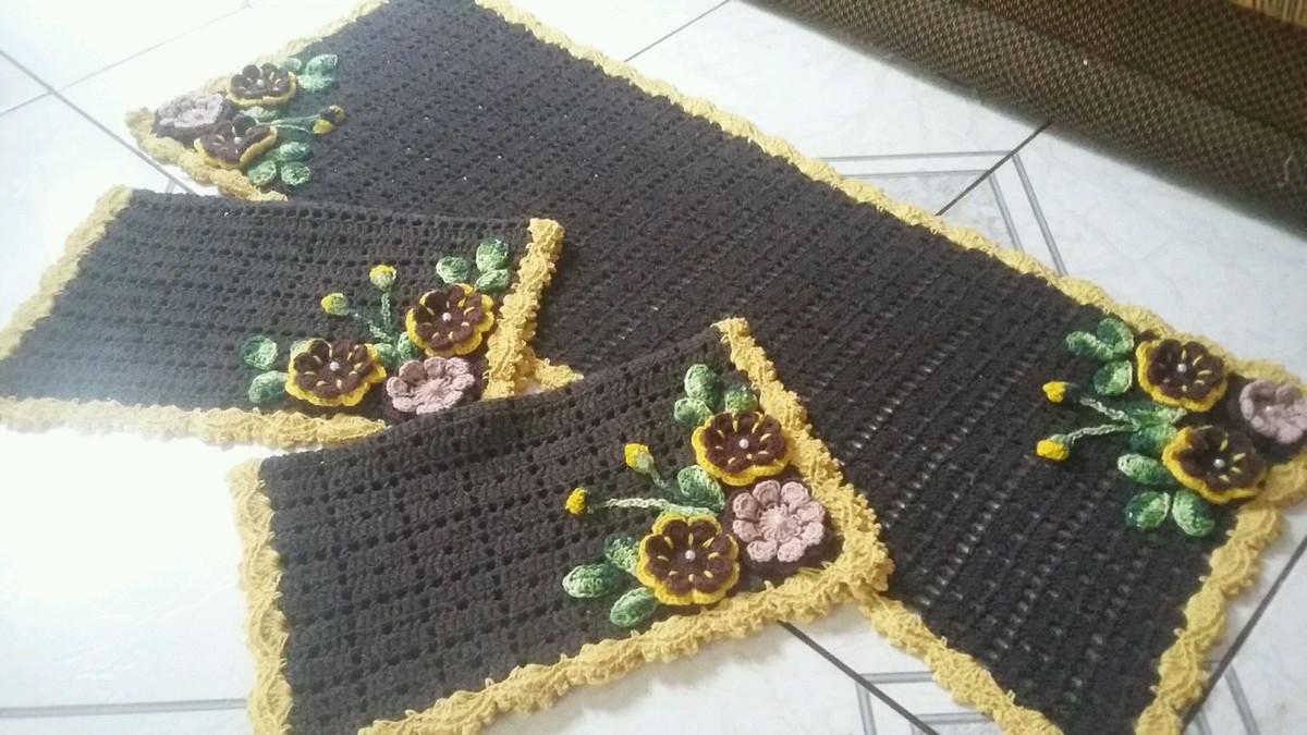 18273def82 Tapetes para cozinha crochê 3 peças no Elo7