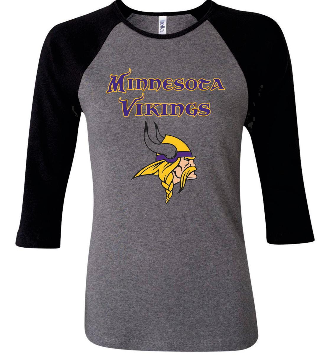 0297c3bf5bd9e Camiseta Raglan 3 4 Minnesota Vikings no Elo7