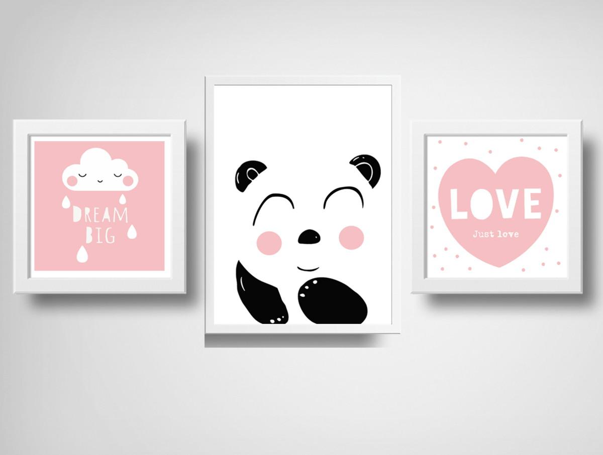 3 Quadros Love Panda Frases Decoração Quarto Menina Bebê No Elo7