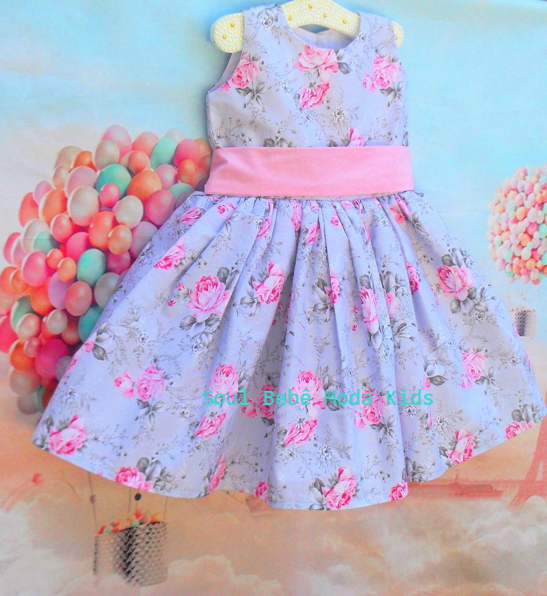 Vestido Infantil Jardim Encantado Florista Floral Rosa